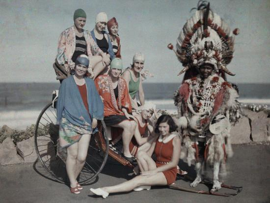 Women Pose in their Bathing Suits Near the Beach Next to a Zulu Man-Melville Chater-Photographic Print