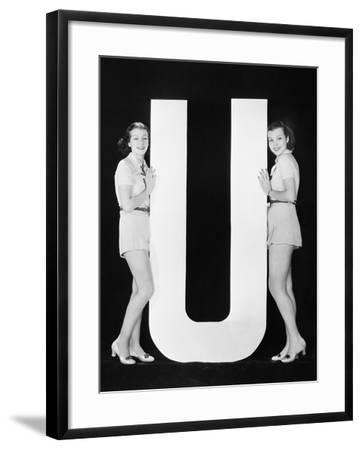 Women Posing with Huge Letter U--Framed Photo