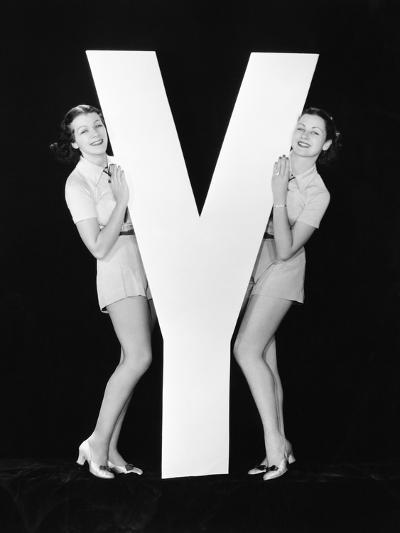 Women Posing with Huge Letter Y-Everett Collection-Photographic Print
