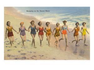Women Running on Beach