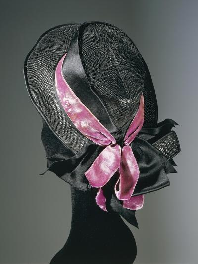 Women's Black Florence Straw Hat with Pink Satin and Velvet Double Ribbon, Early 1900--Giclee Print