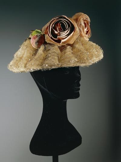 Women's Cloche Oriental Straw Hat Ornamented with Tulle, Net--Giclee Print