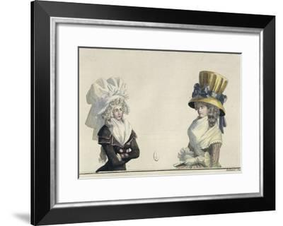 Women's Fashion Plate Depicting Hairstyles and Hats--Framed Giclee Print