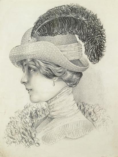 Women's Fashion Plate Depicting Hat by Robert Funke, Sketch, 1910--Giclee Print