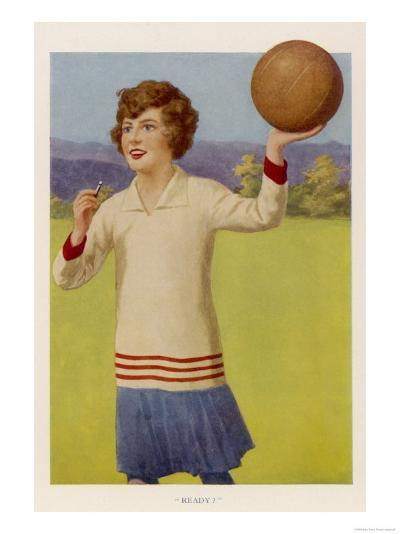 Women's Football: The Referee with Her Whistle About to Start the Game--Giclee Print