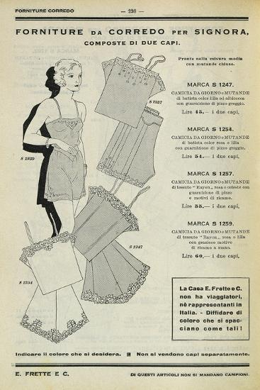 Women's Set of Clothing: Dressing Gown and Pants, Page from Frette Catalogue, 1934--Photographic Print