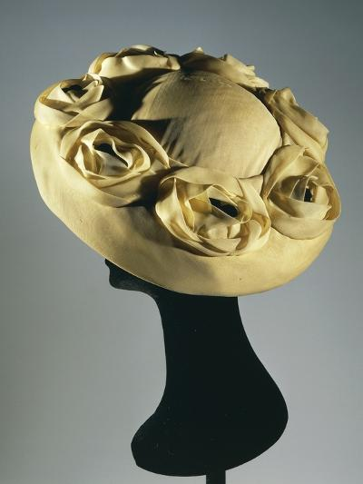 Women's Yellow Synthetic Chiffon Hat Ornamented with Applied Flowers by Christian Dior, 1949--Photographic Print