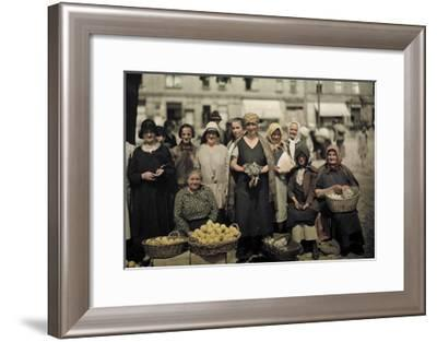 Women Sell Chickens, Eggs, and Lemons at the Market-Hans Hildenbrand-Framed Photographic Print