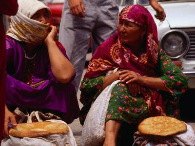 Women Selling Bread at the Market, Mary, Mary, Turkmenistan-Jane Sweeney-Photographic Print