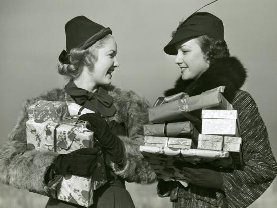 Women Shopping With Christmas Packages-George Marks-Photographic Print