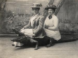 Women Sitting on a Stuffed Alligator, C.1905