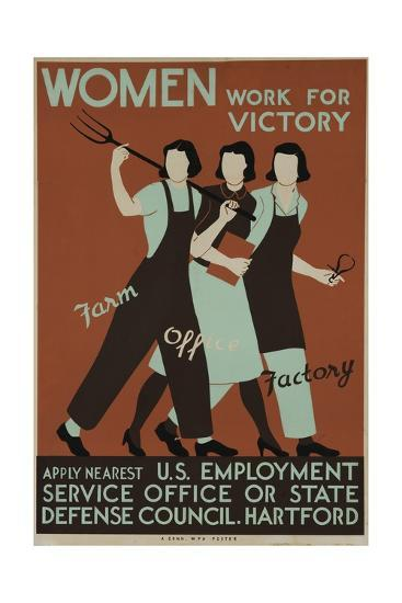 Women Work for Victory Poster--Giclee Print