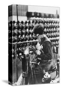 Women Worker in Safety Goggles Doing Acetylene Welding on Cylinder Water Jacket in Factory