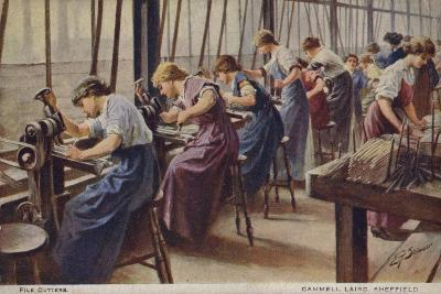 Women Working as File Cutters for Cammell Laird Marine Engineers, Sheffield, Yorkshire, 1917--Giclee Print