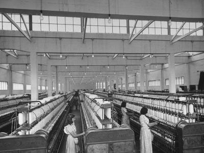 Women Working in the Spinning Room of Textile Mill--Photographic Print