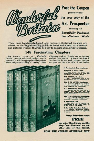'Wonderful Britain book advertisement', 1935-Unknown-Giclee Print
