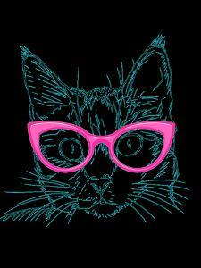Black Hipster Cat With Pink Glasses by Wonderful Dream