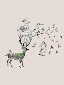 Fantasy Deer Birds by Wonderful Dream