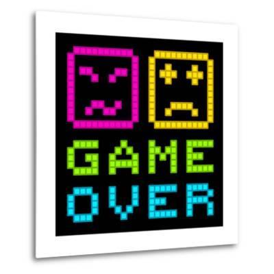 8-Bit Pixel-Art Retro Arcade Game over Message. Eps8 Vector