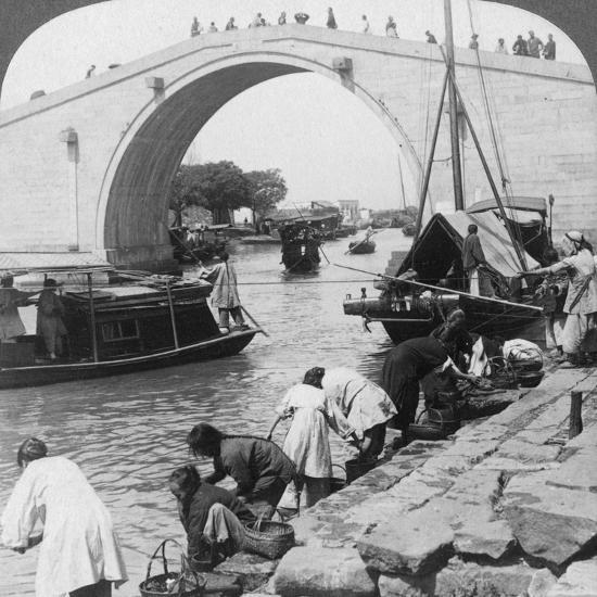 Woo Men Bridge and Grand Imperial Canal, Soo-Chow (Suzho), China, 1900-Underwood & Underwood-Photographic Print