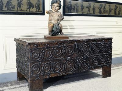 Wood and Iron Chest from Basilica of St. Denis, France, 13th Century--Photographic Print