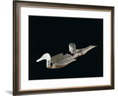 Wood and Ivory Cosmetic Spoon in the Shape of a Female Swimmer Holding a Duck--Framed Photographic Print