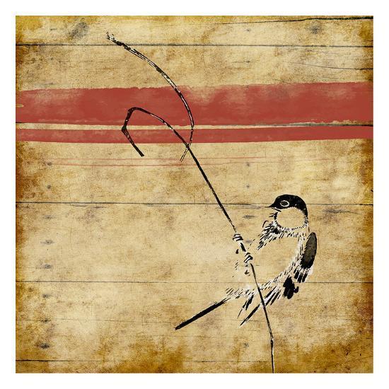 Wood Birds Stripe-Jace Grey-Art Print