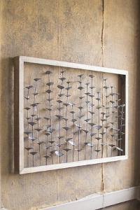 Wood Framed Metal Leaves Wall Hanging
