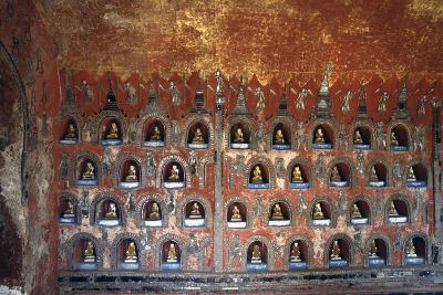 Wood Panel with Niches Containing Statues of Buddha--Giclee Print