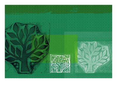 Woodblock Collage of Trees--Giclee Print