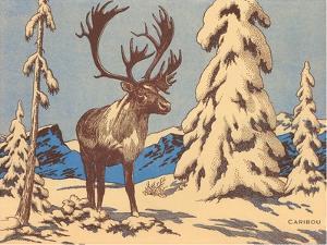 Woodcut of Caribou