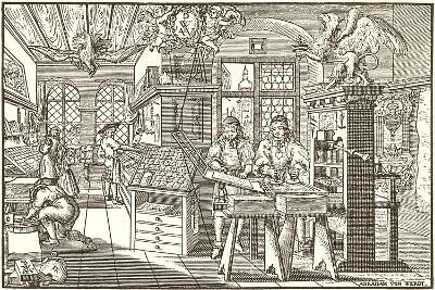 Woodcut of Old Print Shop--Art Print