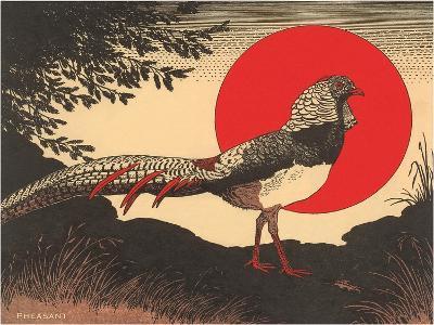Woodcut of Pheasant--Art Print