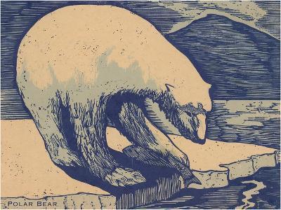 Woodcut of Polar Bear--Art Print
