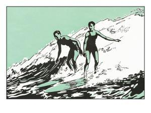 Woodcut of Surfers