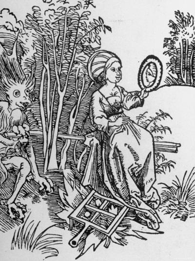 Woodcut of the Devil Tempting a Woman's Vanity with a Mirror--Photographic Print