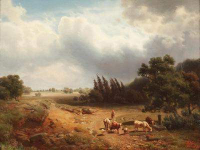 Wooded Landscape with a Shepherdess and Her Cattle, 1862-Heinrich Hofer-Giclee Print
