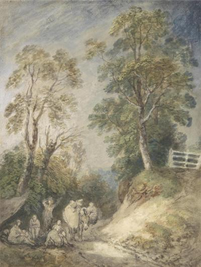Wooded Landscape with Gypsy Encampment, C.1760-65 (W/C and Gouache over Pencil and Chalk on Paper)-Thomas Gainsborough-Giclee Print