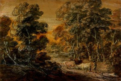 Wooded Landscape with Herdsman and Cattle, C.1770 (Black and White Chalk, Varnished)-Thomas Gainsborough-Giclee Print