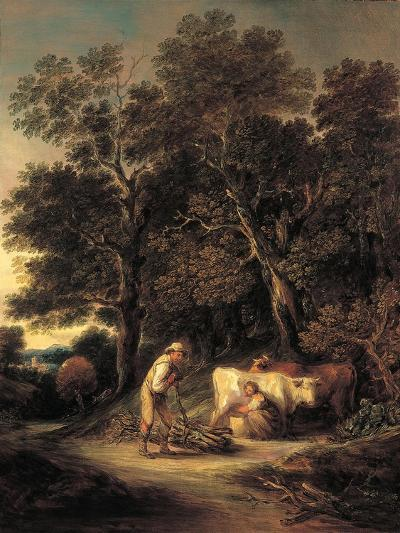 Wooded Landscape with Milkmaid and Woodman, or 'Rural Courtship', C.1792-Gainsborough Dupont-Giclee Print