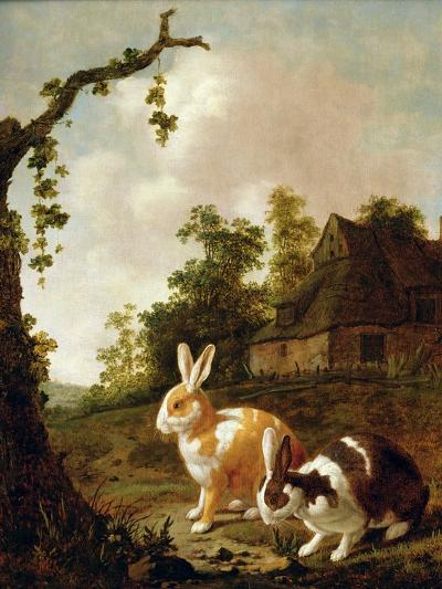 Wooded Landscape with Two Hares-Dirck Wyntrack-Giclee Print