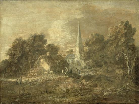 Wooded Landscape with Village Scene, Early 1770-72-Thomas Gainsborough-Giclee Print