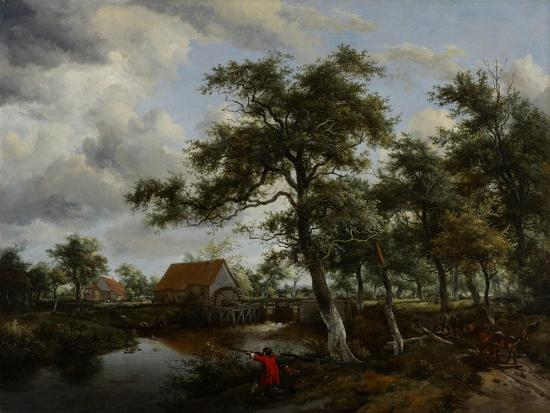 Wooded Landscape with Watermill, C.1665-Meindert Hobbema-Giclee Print