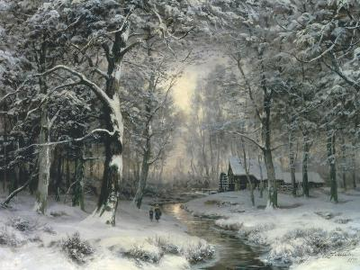 Wooded Winter Landscape, c.1899-Carl Fahrbach-Giclee Print