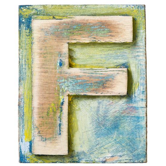 Wooden Alphabet Block, Letter F-donatas1205-Art Print