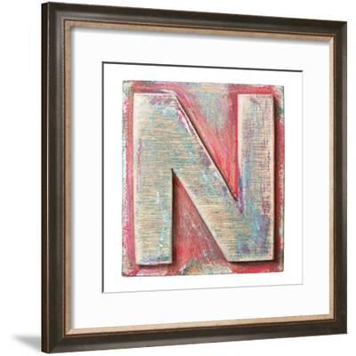 Wooden Alphabet Block, Letter N-donatas1205-Framed Premium Giclee Print