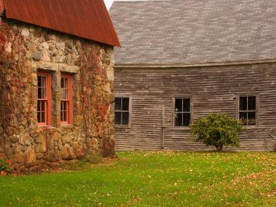 Wooden Barn and Old Stone Building in Rural New England, Maine, USA-Joanne Wells-Photographic Print