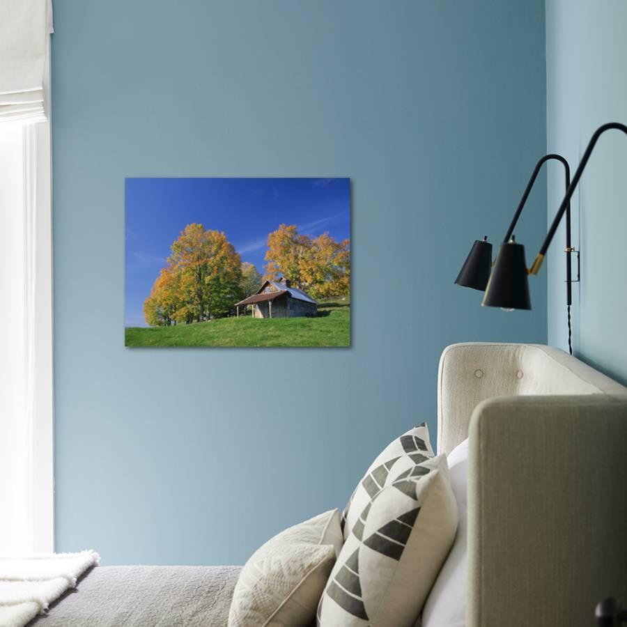 Wooden Barn Building and Trees in Fall Colours, Vermont, New England, USA  Photographic Print by Rainford Roy | Art com