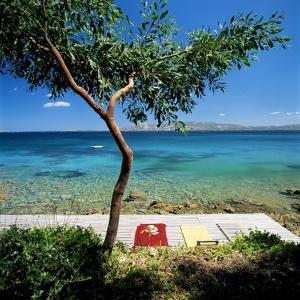 Wooden Bathing Deck, Near Palau, Capo D'Orso, North of Island, Sardinia, Italy, Mediterranean