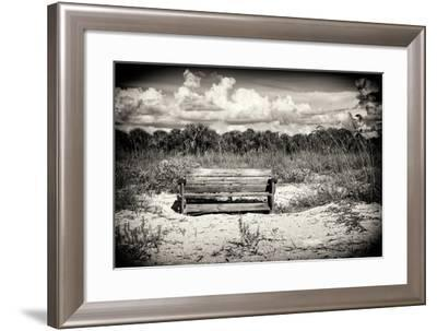 Wooden Bench overlooking a Florida wild Beach-Philippe Hugonnard-Framed Photographic Print